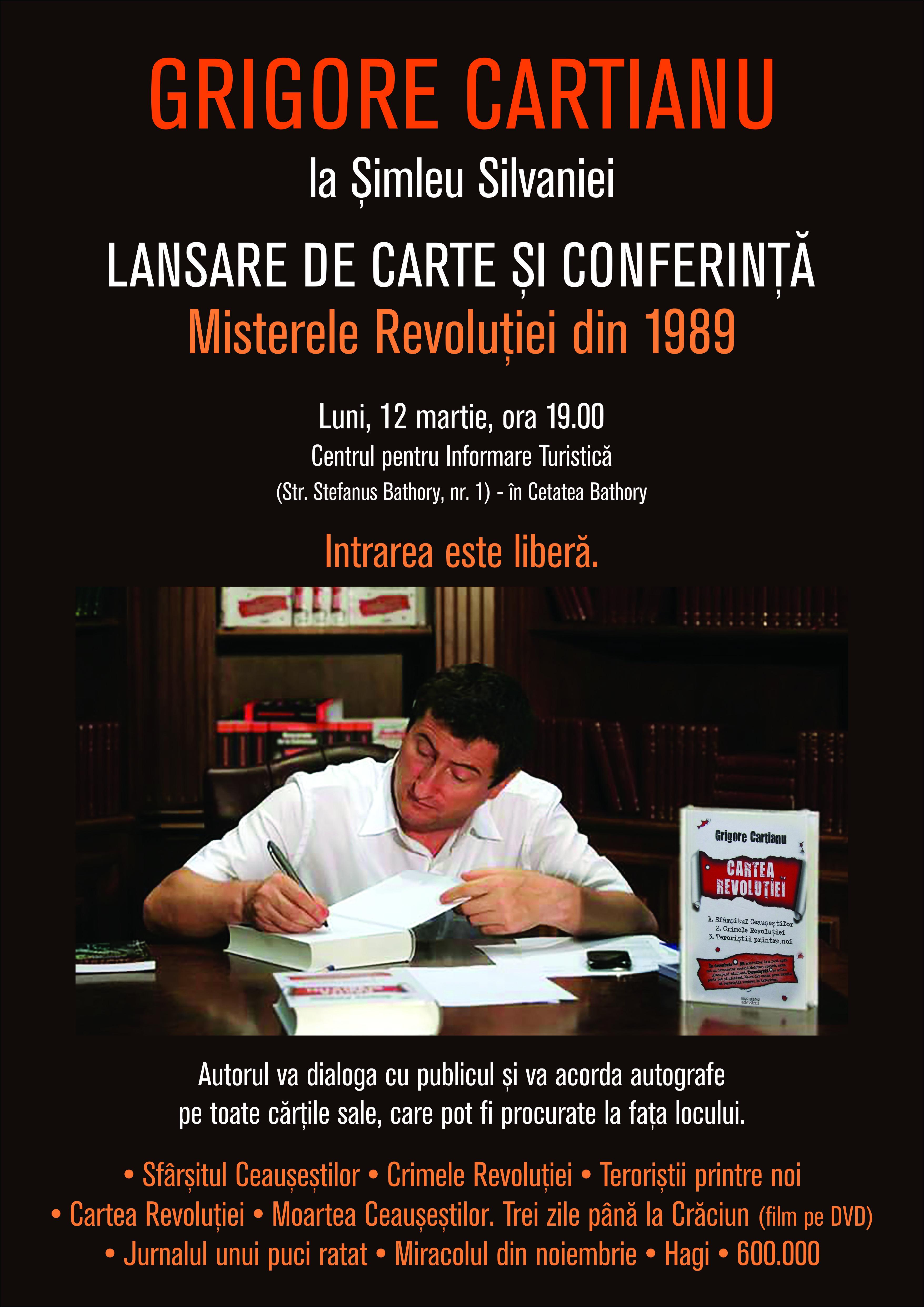 """Grigore Cartianu își va lansa cărțile la Șimleu Silvaniei, unde va vorbi despre """"Crimele Revoluției Române"""""""